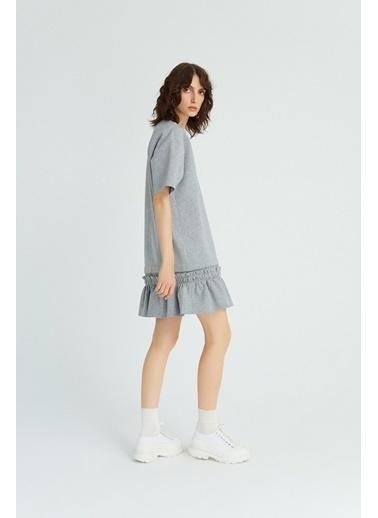 Rue Volanlı Mini Elbise Gri